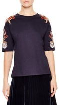 Sandro Women's Floral Applique Crewneck Tee