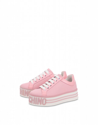 Moschino Calfskin Platform Sneakers Woman Pink Size 35 It - (5 Us)