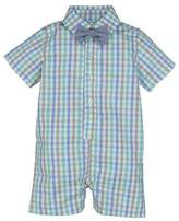 Andy & Evan Collared Check Shortall w/ Chambray Bow Tie, Size 3-24 Months