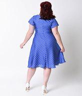 Unique Vintage Plus Size 1940s Style Royal Blue & White Dot Formosa Swing Dress