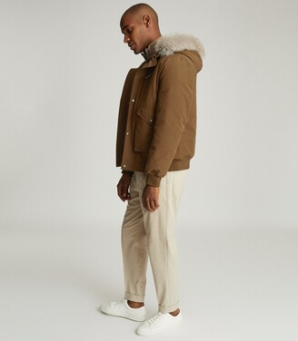 Reiss Cardinal - Faux Fur Hooded Short Parka in Tobacco