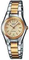 Casio – Learn to Play 1280PSG 9AEF – Collection Women's Quartz Watch with 045J699 Dial Analogue Display and Beige Stainless Steel Two Tone Bracelet