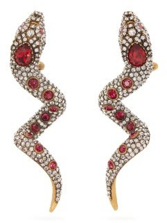Gucci Crystal-embellished Snake Clip Earrings - Red