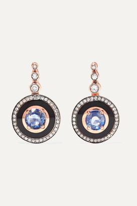 Selim Mouzannar Mina 18-karat Rose Gold, Enamel, Diamond And Sapphire Earrings