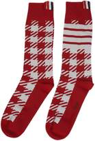 Thom Browne Red Check Socks