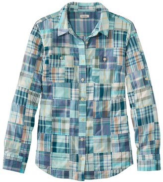 L.L. Bean Women's L.L.Bean Madras Shirt, Long-Sleeve Patchwork