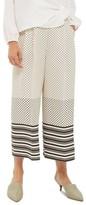 Topshop Women's Spot Stripe Crop Wide Leg Trousers