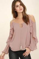 LuLu*s The Wonder of You Mauve Off-the-Shoulder Top