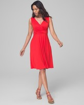 Invisible Support Built-In Bra Soft Jersey V Neck Dress