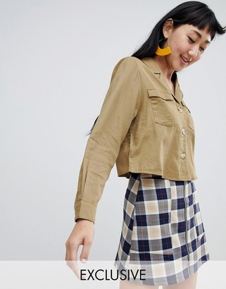 Monki button detail utility shirt in beige-Green