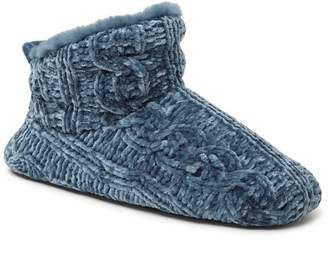 Dearfoams Marled Cable Knit Chenille Bootie Slipper