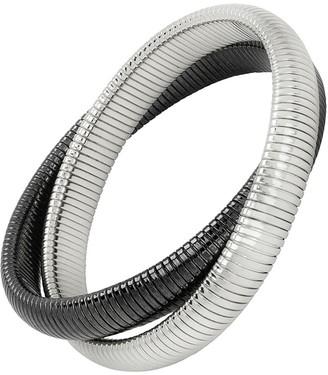 Janis Savitt High Polished Medium Rhodium and Gunmetal Double Cobra Bracelet