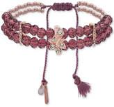 lonna & lilly Rose Gold-Tone Pavé & Tassel Purple Beaded Stretch Bracelet
