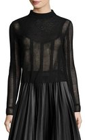 M Missoni Long-Sleeve Lace-Bib Mesh Top, Black