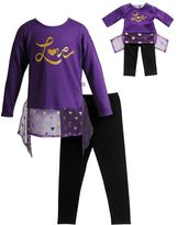 "Dollie & Me Girls 4-14 Glitter ""Love"" Sweater Knit Top & Leggings Set"