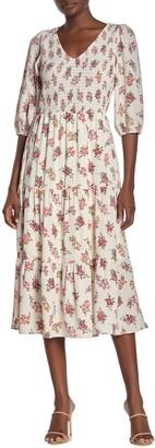 Superfoxx Smocked Bodice 3/4 Sleeve Midi Dress