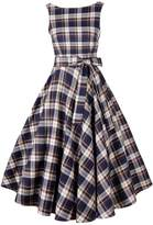 ACHICGIRL Women's Vintage Tartan Print V Back Midi Dress