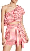 Do & Be Do + Be One Shoulder Checkered Tassel Trim Top