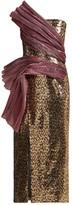 Halpern Asymmetric Plisse-panel Sequinned Dress - Womens - Gold Multi