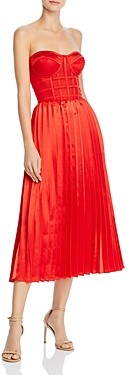 OPT Donna Pleated Strapless Midi Dress