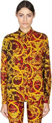 Versace Leopard Print Viscose Twill Shirt