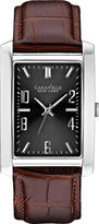 JCPenney CARAVELLE, NEW YORK Caravelle New York Mens Gray Rectangle Dial Brown Leather Strap Watch 43A119