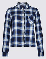M&S Collection PETITE Checked Ruffle Long Sleeve Shirt