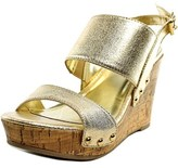 Material Girl Mona 1 Open Toe Canvas Wedge Sandal.