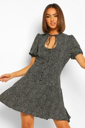 boohoo Spot Print Cut Out Skater Dress