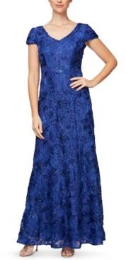 Alex Evenings Cap-Sleeve Soutache Gown