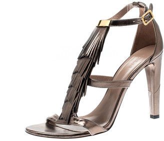 Chloé Metallic Leather Fringe Detail Ankle Strap Sandals Size 40