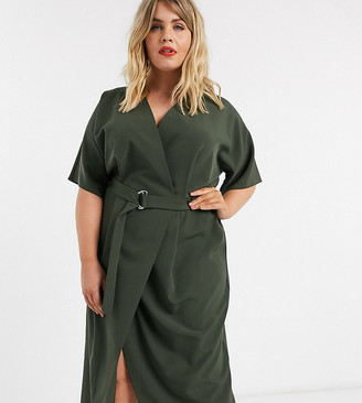 Asos DESIGN Curve wrap front midi dress with d-ring belt in khaki