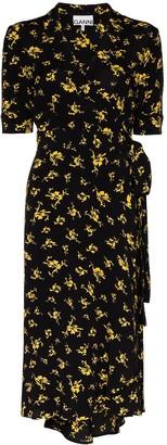 Ganni Floral-Print Wrap Dress