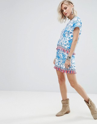 Glamorous Shorts In Floral Print With Tassel Trim Co-Ord-Blue