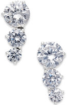 Eliot Danori Silver-Tone Three Crystal Earrings
