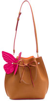 Sophia Webster Remi Butterfly Leather Bucket Bag, Tan/Magenta