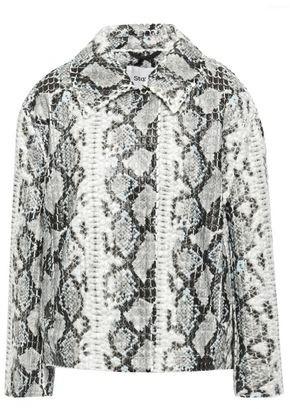 Stand Studio Marthe Coated Snake-print Woven Jacket