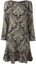 Etro damask print ruffle hem dress - women - Spandex/Elastane/Cupro/Wool - 42