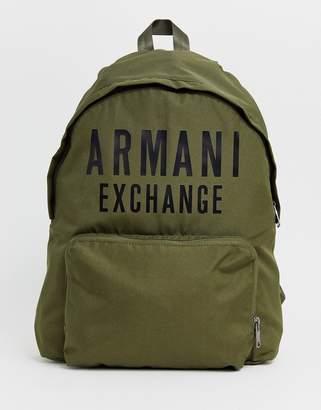 Armani Exchange nylon logo backpack in khaki-Green