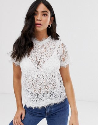 New Look lace tee in off white