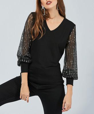 Milan Kiss Women's Blouses BLACK - Black Rhinestone Sheer-Sleeve V-Neck Top - Women