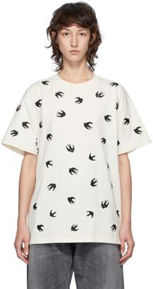 McQ Off-White Allover Swallows Boyfriend T-Shirt