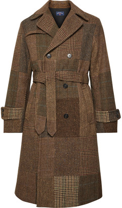 Noah Patchwork Double-breasted Wool Trench Coat - Brown