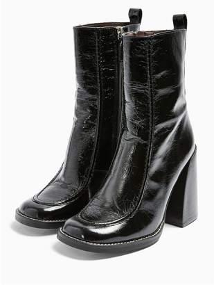 Topshop Harvey Chunky Heel Leather Calf Boots - Black