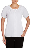 Allison Daley Short Sleeve Lace Front Peasant Top