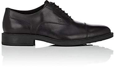 Tod's Men's Cap-Toe Leather Balmorals - Black