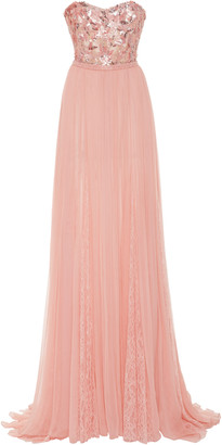 Pamella Roland Strapless Sequin-Embroidered Chiffon Dress