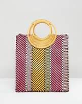 Asos DESIGN Stripe Straw Mini Shopper Bag With Bamboo Handle