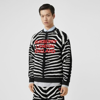 Burberry Zebra and Logo Wool Blend Jacquard Sweater