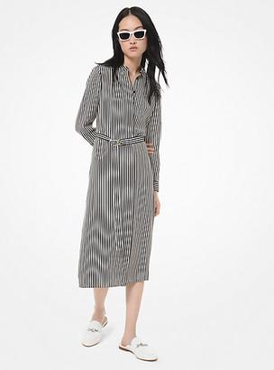 Michael Kors Striped Crepe Shirtdress